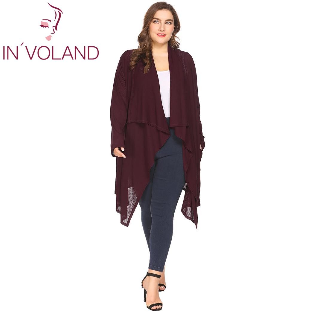 IN'VOLAND Plus Size Women Cardigan Tops XL-4XL Spring Autumn Long Sleeve Drawstring Draped Irregular Sweater Jacket Big Size