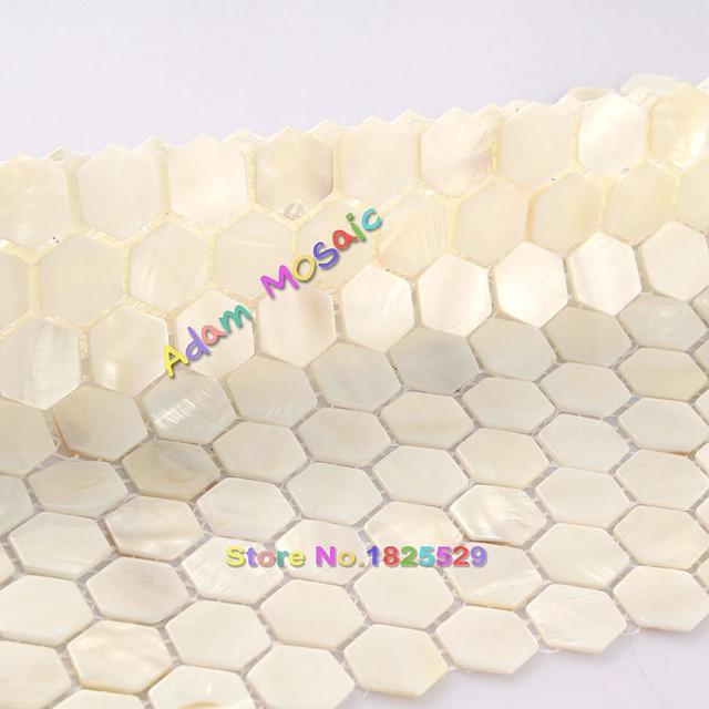 hexagon fliesen wei perlmutt fliesen badezimmer wand backsplash kche mosaik u bahn kamin deco - Ubahn Fliese Kche Backsplash Bilder
