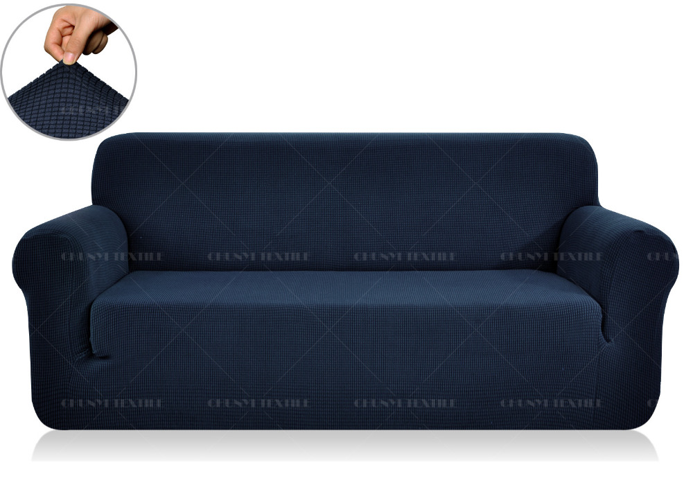 Jacquard Spandex Fabric Sofa Cover Solid Dyed Washable