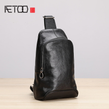 AETOO Chest bag male leather fashion tide single shoulder bag casual movement oblique cross Baotou layer cowhide men's bag