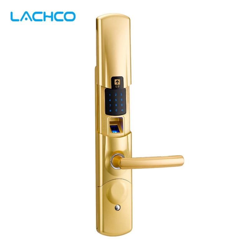 LACHCO Fingerprint Electronic Door Lock Smart Digital Touch Screen Keypad Password Card Mechanical Key Zinc Alloy SL16079SG