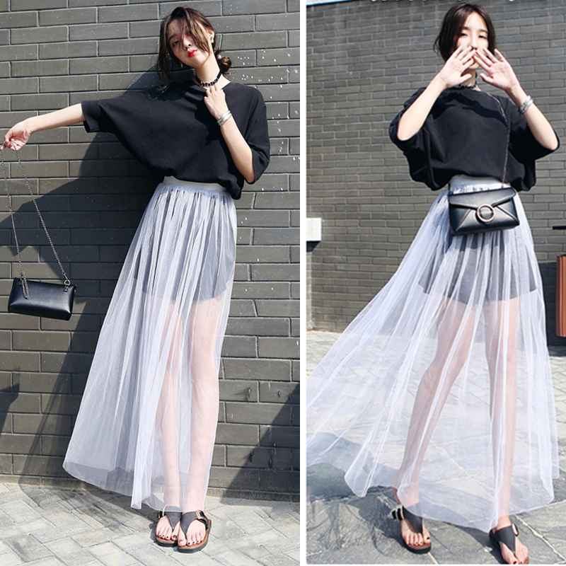 db8b948437 Summer White Tulle Long Skirts One layer See Through Elastic Waist Flowy  Street Skirts Fashion High