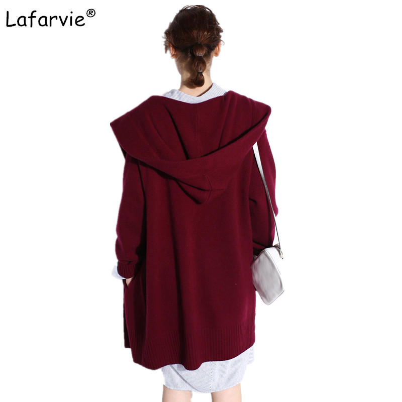 Lafarvie Casual Knitting Hooded Long Cardigan Female Loose Cardigan Knitted Jumper 2019 Thick Warm Winter Sweater Women Cardigan in Cardigans from Women 39 s Clothing