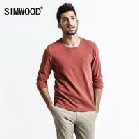 SIMWOOD Long Sleeve T Shirt Men Slim Fit 100 Cotton 2018 Spring New Fashion Causal Tops