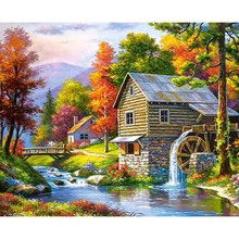Scenic House Full Square Drill Diamond Painting Embroidery Full Round Mosaic Cross stitch Home Decoration Beautiful Villa Garden full house