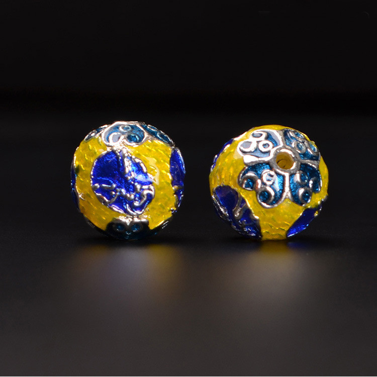 1 PCS 13mm 15mm Fashion Metal Copper Filigree Enamel Drops Of Glaze Nepal Handmade Spacer Beads Hole Bead DIY Jewelry Components