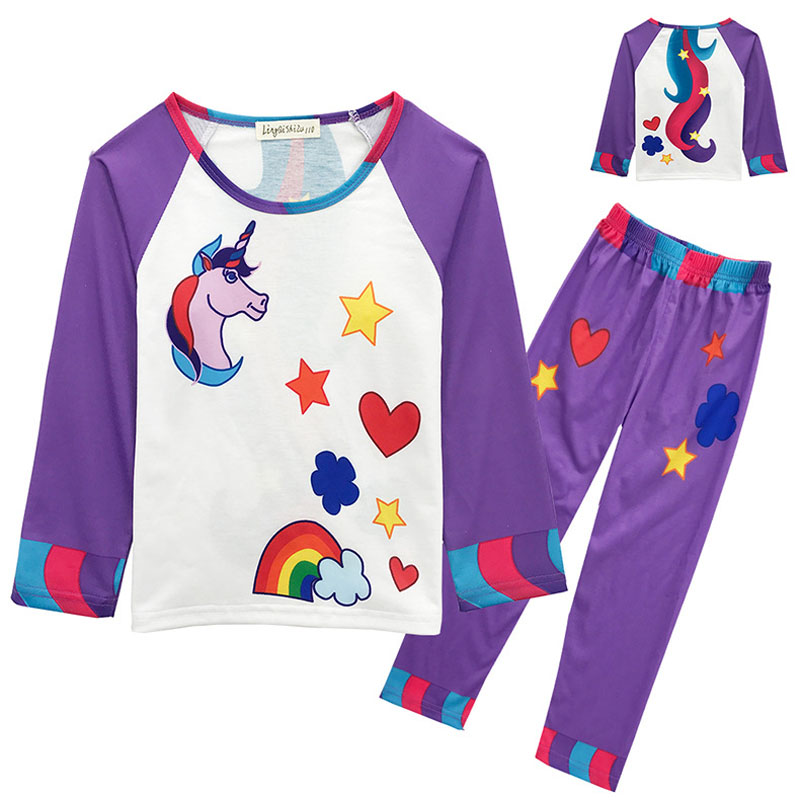 unicorn pajamas children for girls boys pyjamas kids pijamas child sleepwear Long sleeve tops&tees+trousers clothing set lovely spring pure cotton thomas and friends children clothing long sleeve tops pants for 2 7 years boy kids pajamas sleepwear