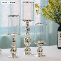 Huracán candelabros de plata con Pantalla de vidrio transparente solo té luz titular decoración del Hogar suministros de Restaurante