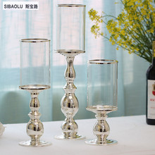 """18 """"Držač s jednim srebrnim svijećnjakom sa staklom Držač čaša svjetiljke za svjetiljku Kućni pribor Namještaj restorana"""