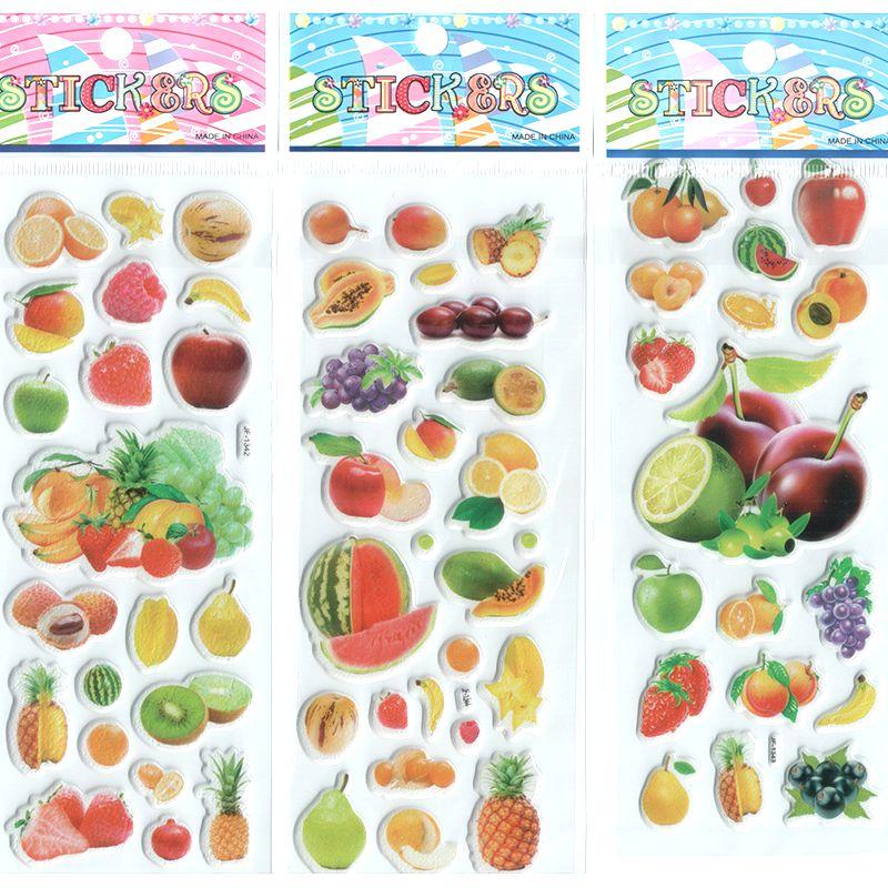 3 pçs/lote bebê meninas e meninos fruta dos desenhos animados adesivos melhor presente para desenvolver a inteligência das crianças das crianças Popular Stickers # ST004