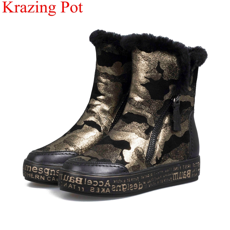 2018 superstar big size keep warm fur platform snow boots flat with camouflage concise mid-calf boots runway winter shoes L86 цены
