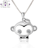 925 Sterling Silver Cute White Cubic Zirconia Monkey Bowknot Dome Pendants Necklaces For Women Female Girls
