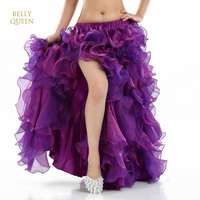 Leafroll Single Split Belly Dancing High Quality Dance Skirts Performances Dress Bellydance Swing Skirt Belly Dance