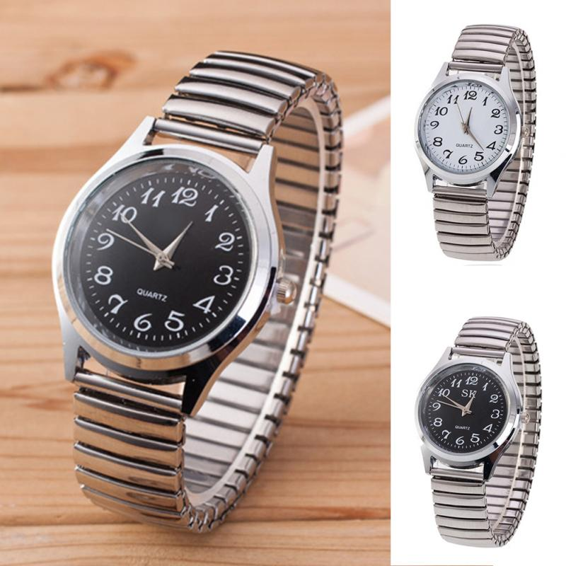 Men's Watches Stainless Steel Band Alloy Lovers Business Quartz Movement Wristwatch Elastic Strap Band Couple Wrist Watch