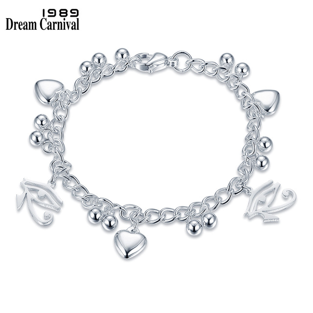 bdc1df151322 DreamCarnival 1989 Gothic Eye Heart Silver Color Wholesales Pulseras  Stainless Steel Designer Charms Bracelet Women 2LCB