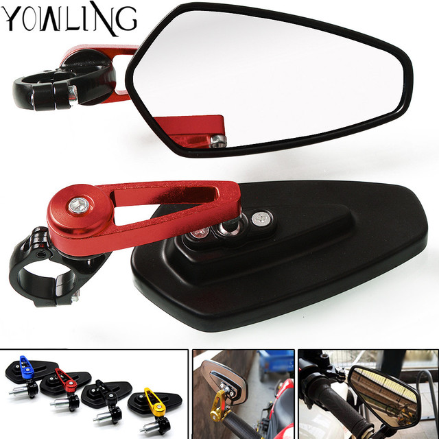 """Universal 7/8"""""""" 22mm handle bar motorcycle bar end mirror Motorcycle Mirror FOR DUCATI Street Fighter 696 796 796 848 FZ09 MT-09"""