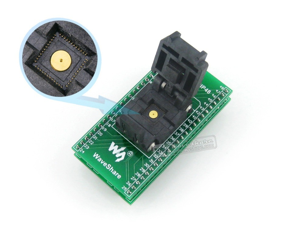 Parts QFN48 TO DIP48 QFN48 MLF48 MLP48 Plastronics 48QN50K17070 IC Test Socket Programmer Adapter 0.5mm Pitch fshh qfn32 to dip32 programmer adapter wson32 udfn32 mlf32 ic test socket size 3 2mmx13 2mm pin pitch 1 27mm