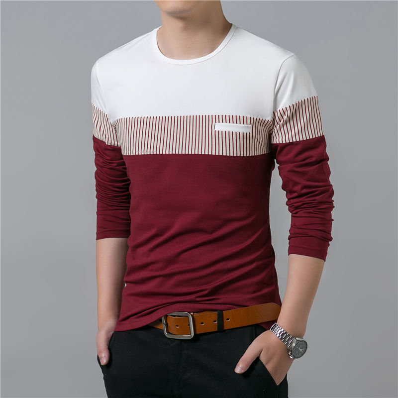 COODRONY T-Shirt Men 17 Spring Summer New Long Sleeve O-Neck T Shirt Men Brand Clothing Fashion Patchwork Cotton Tee Tops 7622 9