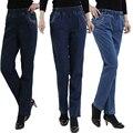 2017 весной и летом пятидесятилетний упругие талии высокой талии денима прямые женские джинсы тонкий Леди брюки плюс размер