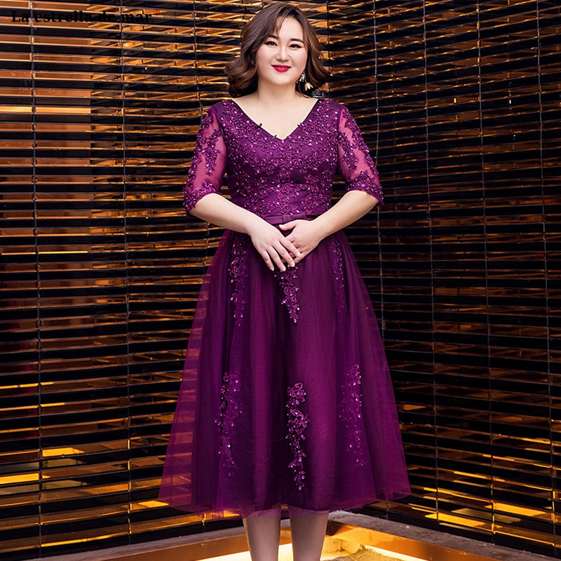 Plus Size Vestido Madrinha New Tulle Sexy V Neck Half Sleeve A Line Green Purple Royal Blue Burgundy Silver Bridesmaid Dresses