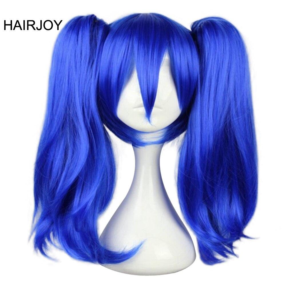 HAIRJOY महिला सिंथेटिक कॉस्टयूम बाल दो Braids मध्यम लंबाई नारंगी ग्रे गोरा नीला भूरा Cosplay विग नि: शुल्क शिपिंग