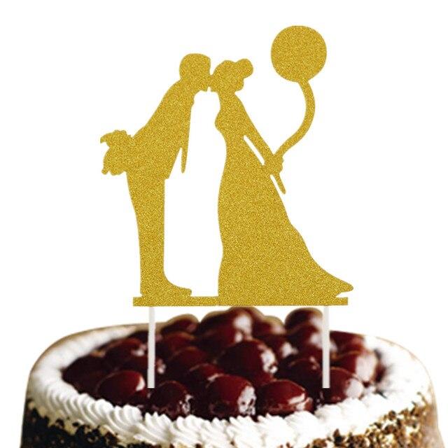Customized Wedding Cake Topper Bride Groom Glittler Cake Flags ...