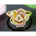 Peacock Star Gold Plated Rose Ring use Austrian Crystal - CSR098