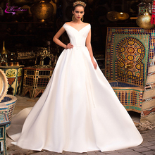 Waulizane Luxury V Neckline A Line Wedding Dresses Made With Elegant Satin Fabrics Off The Shoulder Gown