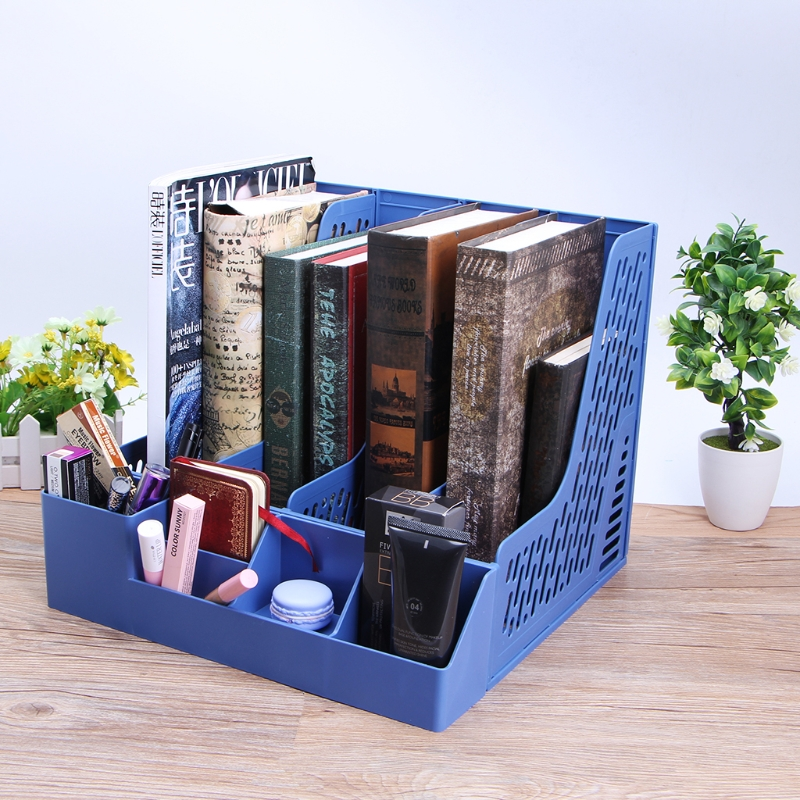 Plastic Desk Organizer 4 Sections Document Rack Paper Book Holder Organizer Office School Supplies