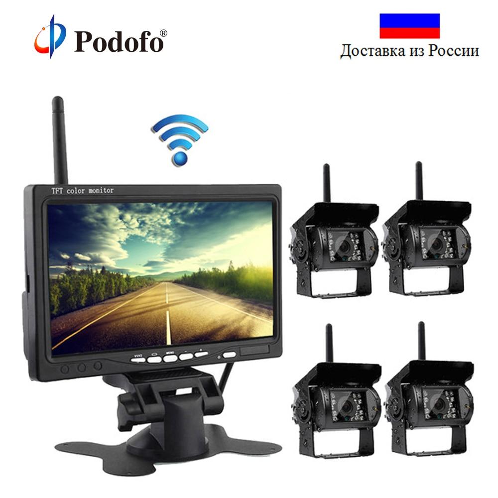 Podofo Wireless 4 Backup Cameras IR Night Vision Waterproof With 7