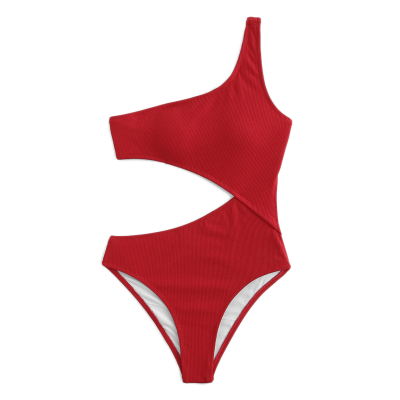 Red One Shoulder Cutout One-Piece Swimsuit 16