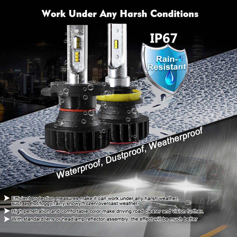 CNSUNNYLIGHT Car Headlight Bulb Lumileds Chip ZES LED H7 H4 H11 H8 9005 9006 H1 H3 880 H13 9004 9007 9900Lm White DC 12V 24V