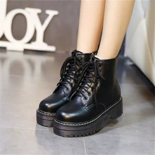 Black Patent Leather Ankle Boots For Women Lace Up Platform Boots Women Winter Warm Plush Women Boots Street Style Shoes tie up patent leather eyelets ankle boots