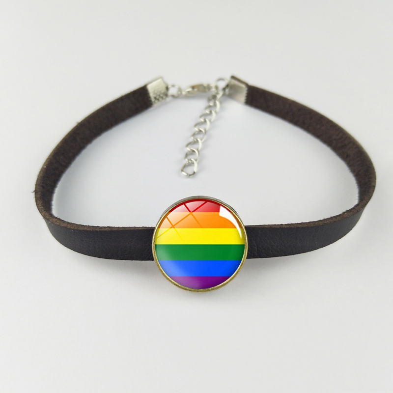 LGBT <font><b>Pride</b></font> Rainbow Bracelet Punk Brown Leather Rope Glass Charm Bracelets Lesbians Gays <font><b>Bisexuals</b></font> Transgender <font><b>Jewelry</b></font> image