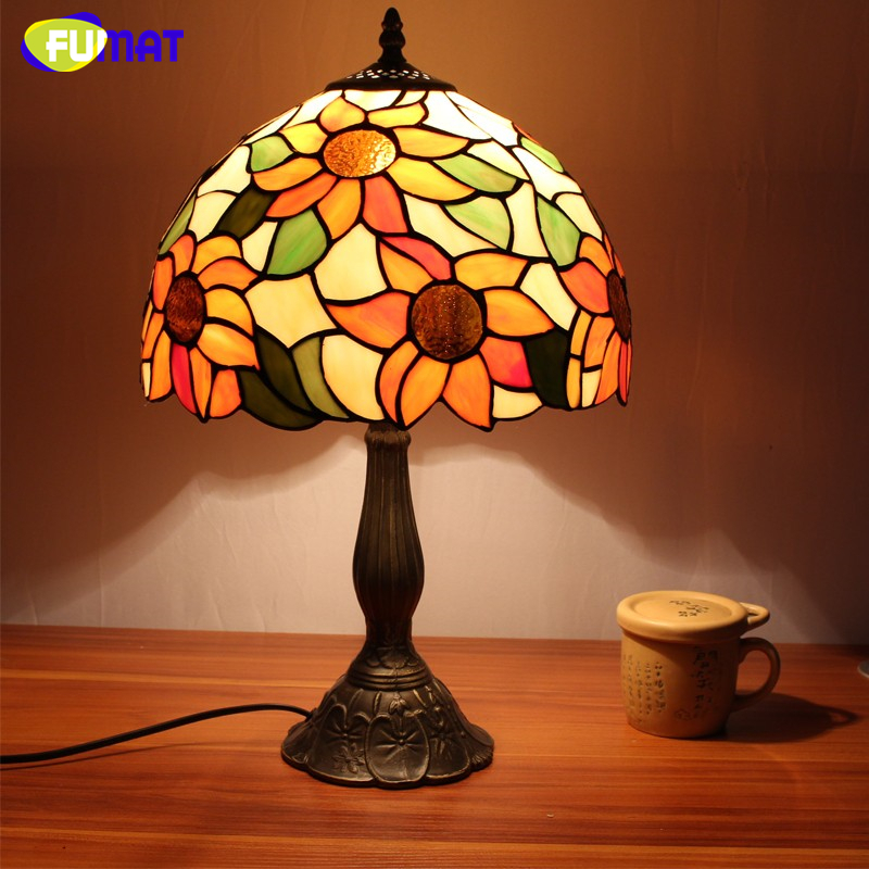 Fuamt Stained Glass Table Lamps Vintage Sunflower Desk
