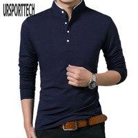 Высокое качество, Мужская рубашка поло с длинным рукавом, одноцветная рубашка поло, Camisa Polo Masculina, популярные повседневные хлопковые топы, пл...