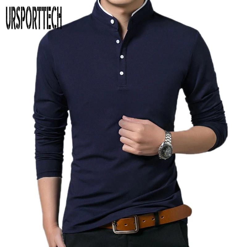 Men/'s Italian Design High Collar Long Sleeve Cotton Shirt Size S-3XL