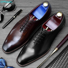 QYFCIOUFU 2019 Handmade Designer Luxury Wedding Party Formal Business Brand Male Dress Genuine Calf Leather Mens Oxford Shoes