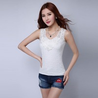 Tank Top Women Fitness Elegant Flower Embroidery Lace Vest 2017 New Fashion Summer Tube Top Sleeveless