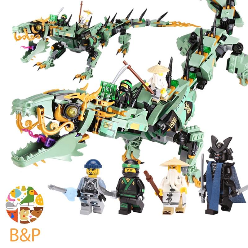 цена lepin Legoing 70612 592pcs Ninjago Series The Green Ninja Mech Dragon Building Blocks Brick Educational Toys For Children 06051