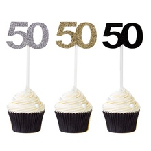 Fifty Birthday Decorations 50th Anniversary Party Decor Number 50 Paper Cupcake Topper 12pcs Free Shipping