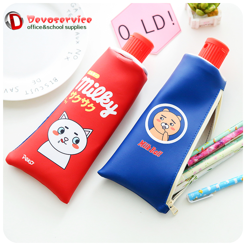 Kawaii Toothpaste Pencil Case Bag Big Milk Bottle PU leather Pen Cases With Sharpener School For Girls Boy Gift Supplies Escolar 2017 high quality school supplies stationary pu leather pencil case students kawaii soft creative milk bag large bags