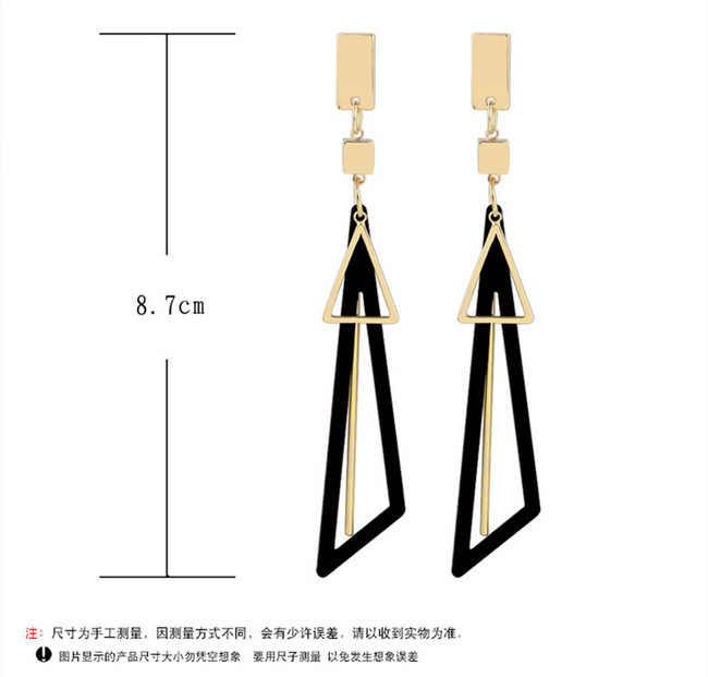 Корейский Творческий длинное эффектное геометрический Треугольники витые болтающиеся серьги для Для женщин серьги, ювелирные изделия oorbellen Brinco