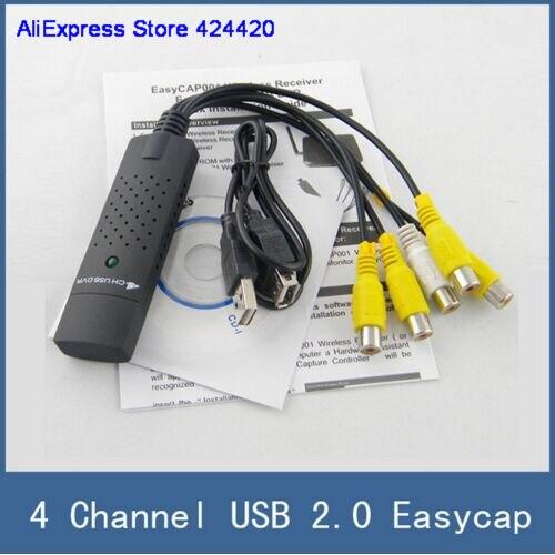 USB 2,0 Easycap 4 canal 4CH DVR CCTV cámara de Audio adaptador de captura de Video grabadora para PC portátil Windows XP