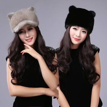 New women's cap  real fur mink fur winter warm ear protector cat ears fur hat