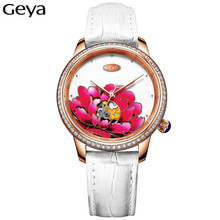 Geya Woman Watch 2017 Brand Luxury Sapphire Glass Genuine Leather Strap Women Mechanical Watch For Ladies Watch Christmas Gifts