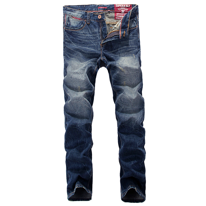 Superably Brand Men Jeans High Quality Blue Color Denim Stripe Jeans Mens Pants Slim Fit Youth Fashion Streetwear Ripped Jeans 2017 slim fit jeans men new famous brand superably jeans ripped denim trousers high quality mens jeans with logo ue237