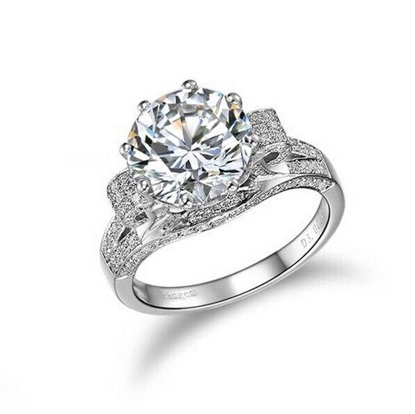 18K Gold plated Genuine 3 Carat SONA Lab Diamond flower Ring band for Women aneis de diamante Wedding Engagement Rings (BB)