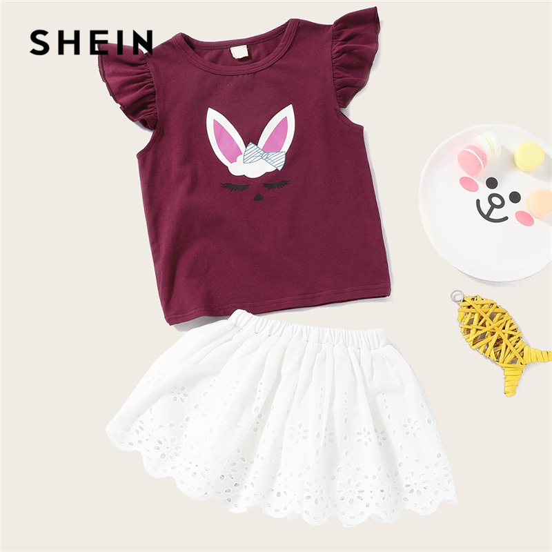 SHEIN Kiddie Girls Cartoon Print Ruffle Sleeve Cute Tee With Elastic Waist Skirt Sets 2019 Summer Casual Kids Two Piece Outfits girls plain elastic waist shorts