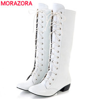 AISIMI 2015 New Fashion Knee Boots Lace Up Sexy Low Heels Comfortable High Quality Winter Women